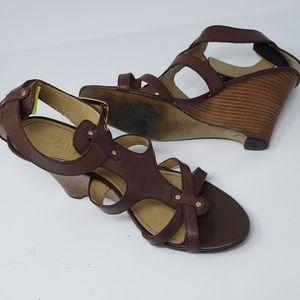 Franco Sarto Brown Dubai Wooden Wedge Sandals